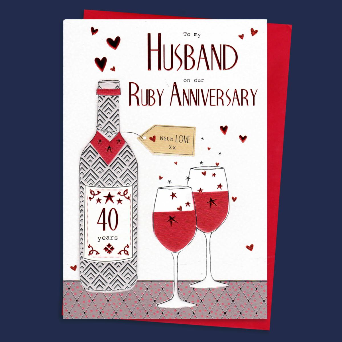 Husband on Our Ruby 40th Wedding Anniversary Wine /& Glasses Design Card