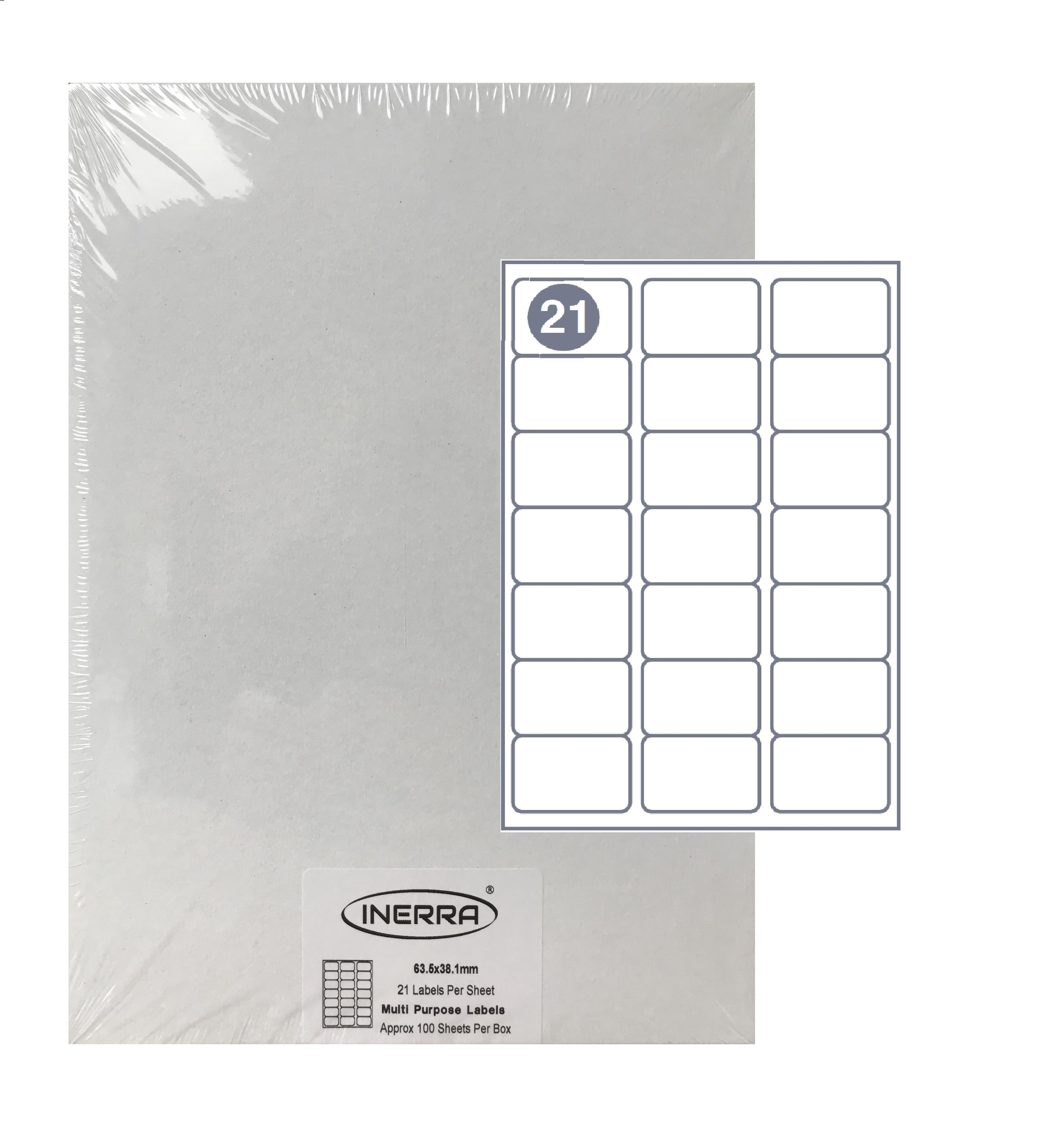 Free Template for INERRA Blank Labels - 21 Per Sheet Throughout Word Label Template 12 Per Sheet