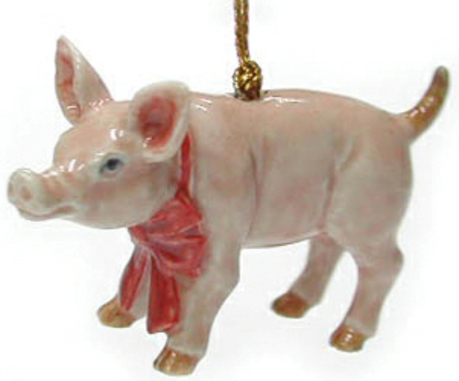 northern rose porcelain christmas tree decoration pig with red bow r260
