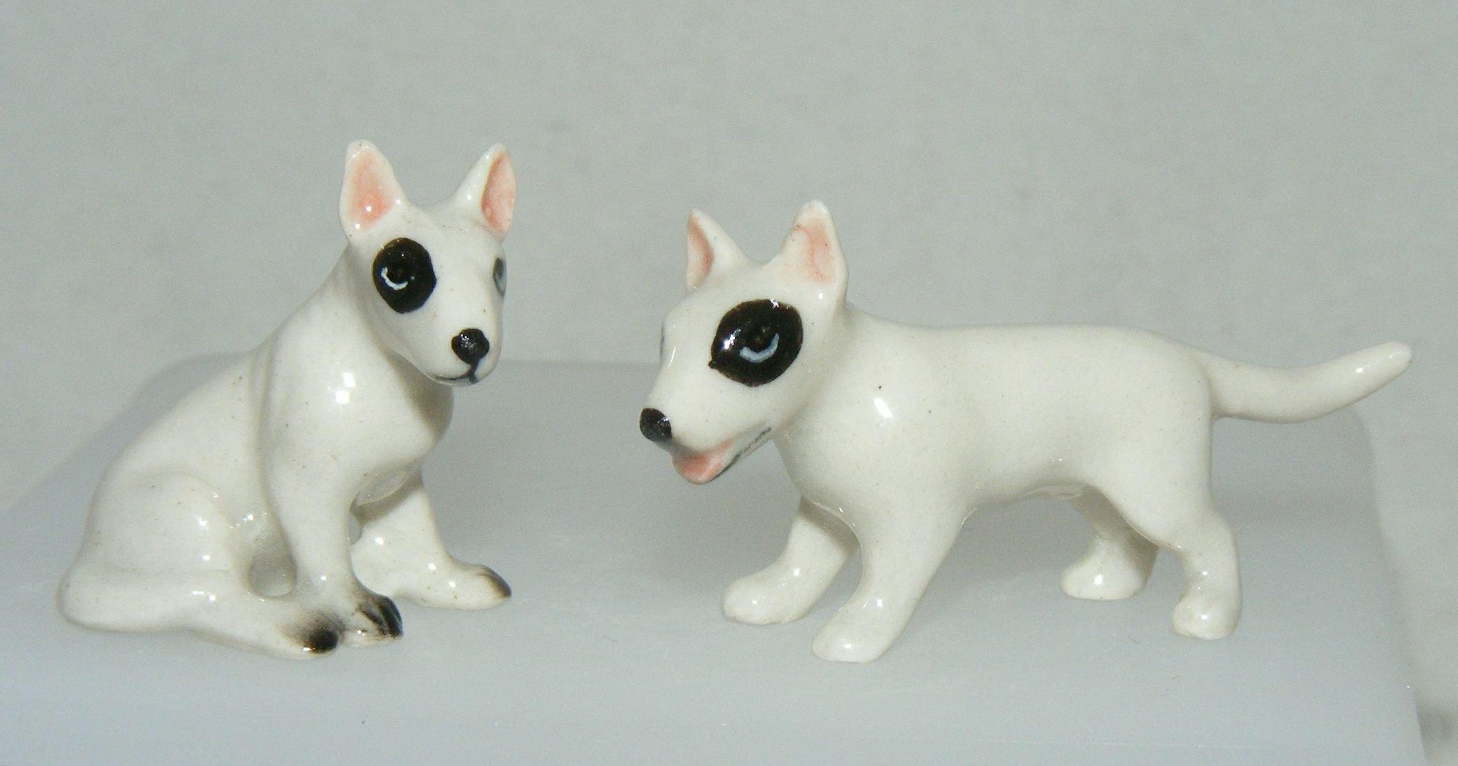 Miniature Porcelain Hand Painted Bull Terrier Set//2 Tiny Sit-Stand Figurine