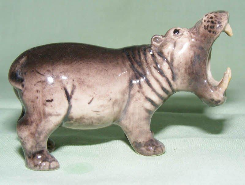 Klima Miniature Porcelain Animal Figure Hippopotamus Mouth