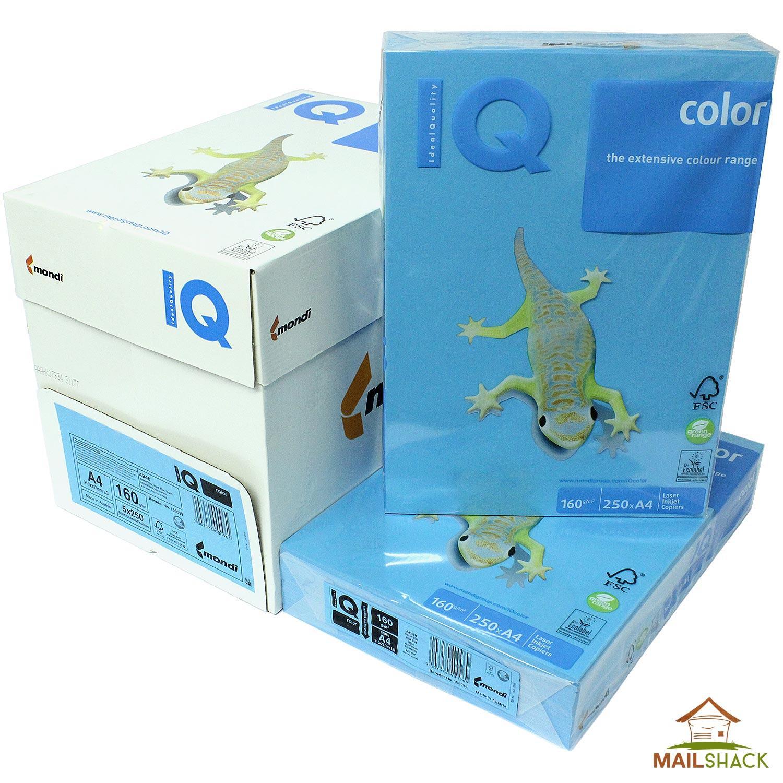 IQ Color A4 Aqua Blue Coloured Card 160gsm Copier Reams Of 250 Sheets