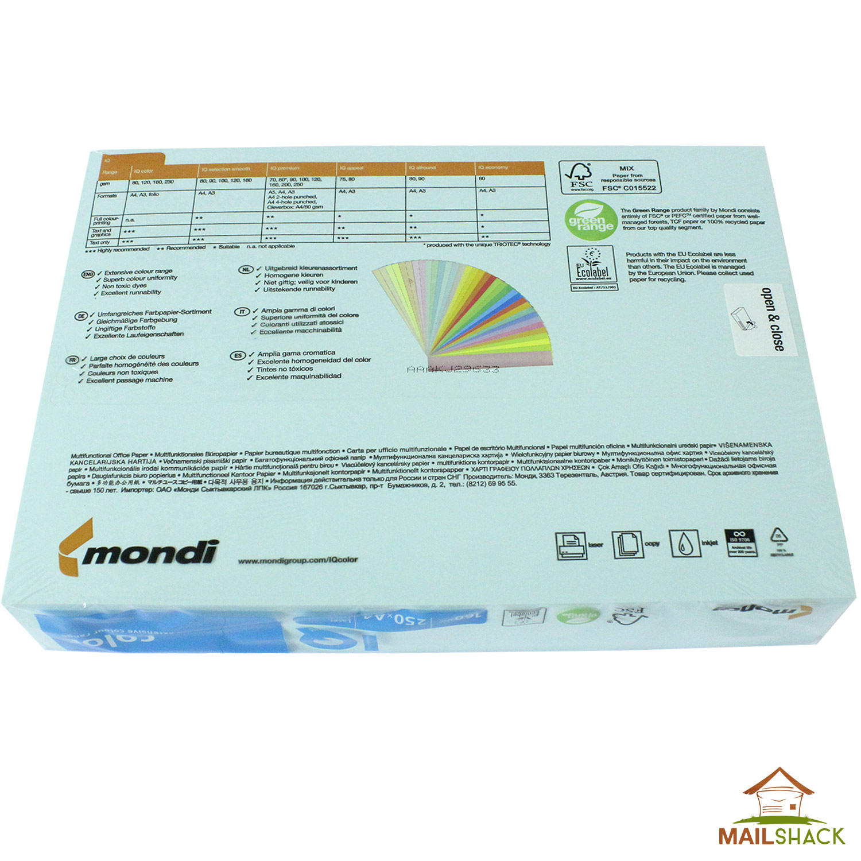 IQ Color A4 Blue Coloured Card 160gsm - 250 Sheets Per Ream
