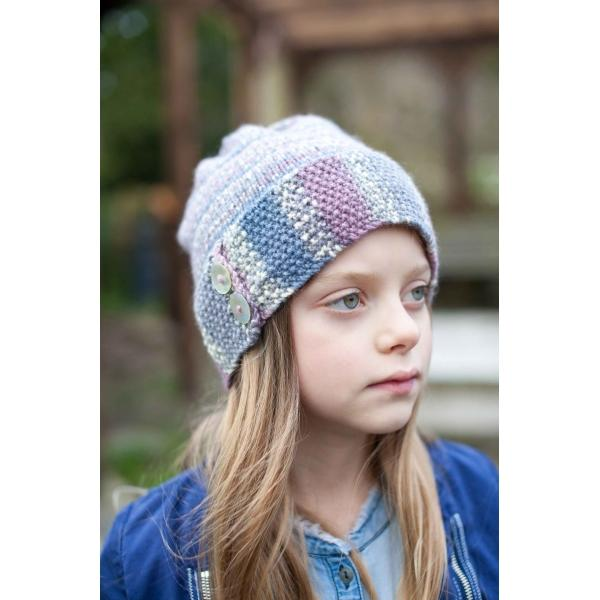 Button Beany Hat<P>Wood Pigeon DK