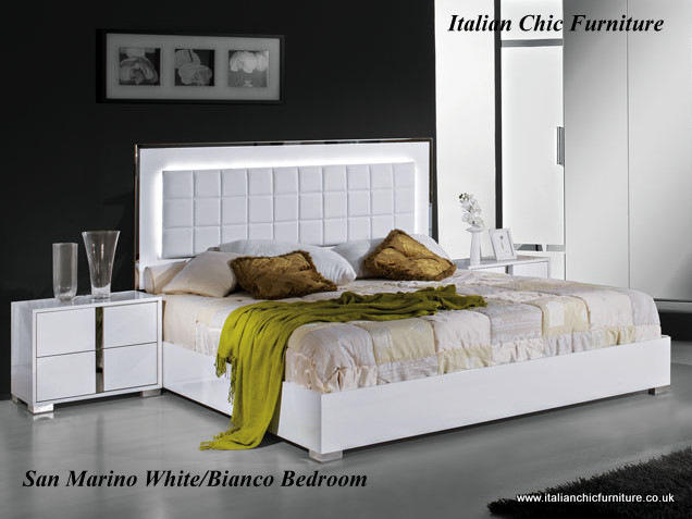 San Marino Bedroom Set with 3 Drawer Dresser White