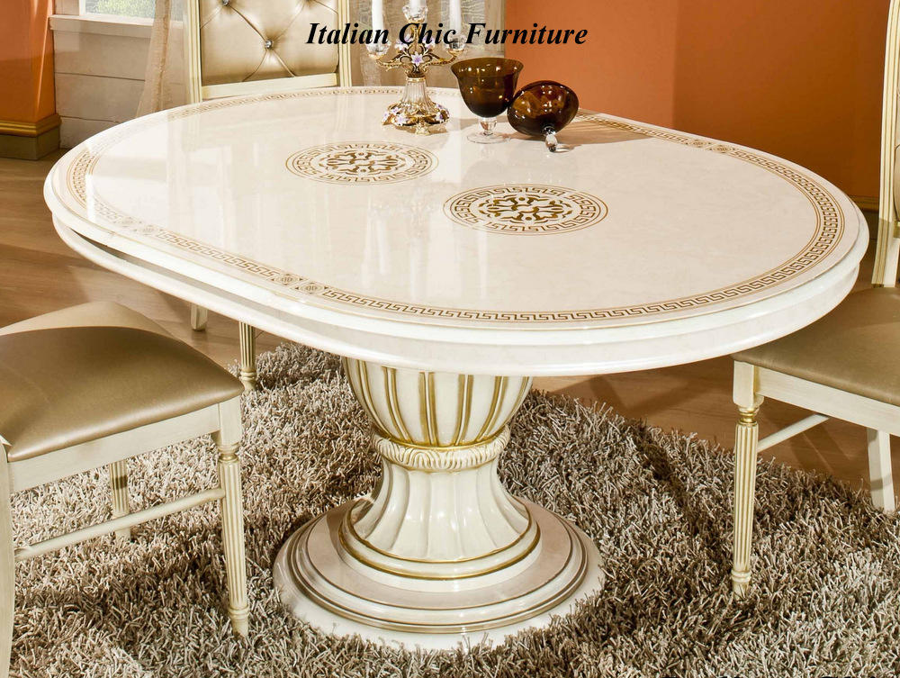 Rossella round table 4 versace embroidered chairs beige for Table versace