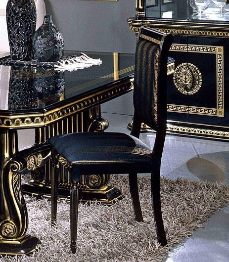 Rossella Round Table amp 4 Chair Set Black Gold Versace Style