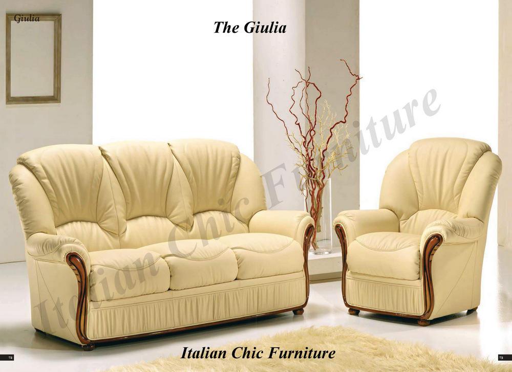 Giulia 3 1 Italian Leather Sofa Set