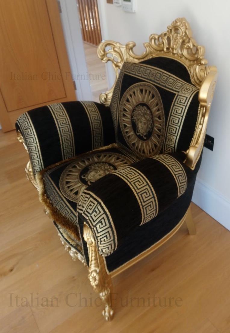Finlandia Baroque Versace Style Fabric Armchair