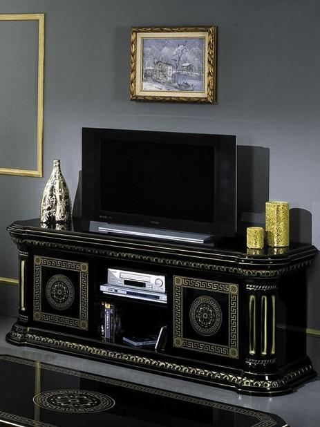 Coronation Rosa Large Tv Cabinet Black Gold Versace Style