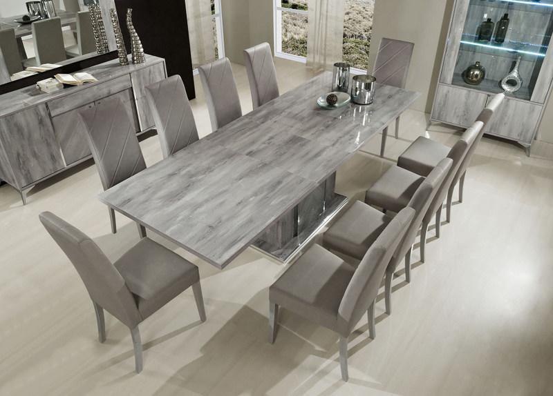 Alexa Table Amp 8 Chair Set High Gloss Grain Grey