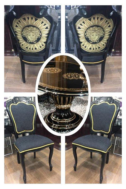 Medusa Rossella Round Table 4 Versace Head Embroidered