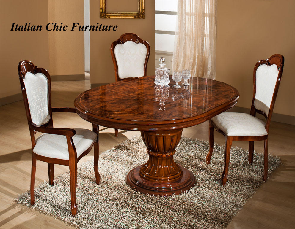 Elizabeth round extendable dining table and 4 chairs for Italian dining table