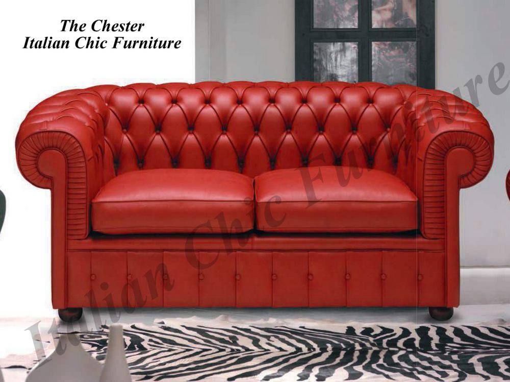 Chester 2 Seater Italian Leather Sofa Red. CODE:CHEREDSOFA2