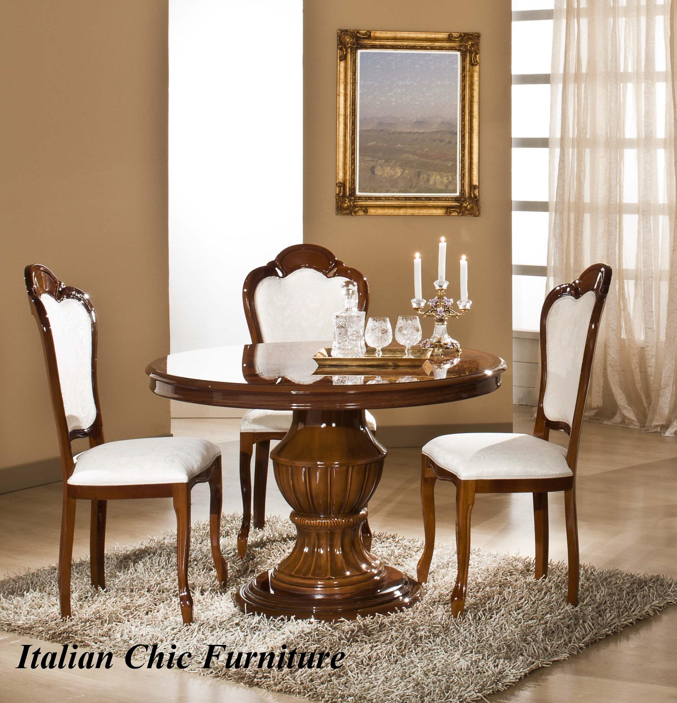 Elizabeth Round Extendable Dining Table and 4 Chairs Walnut Radica