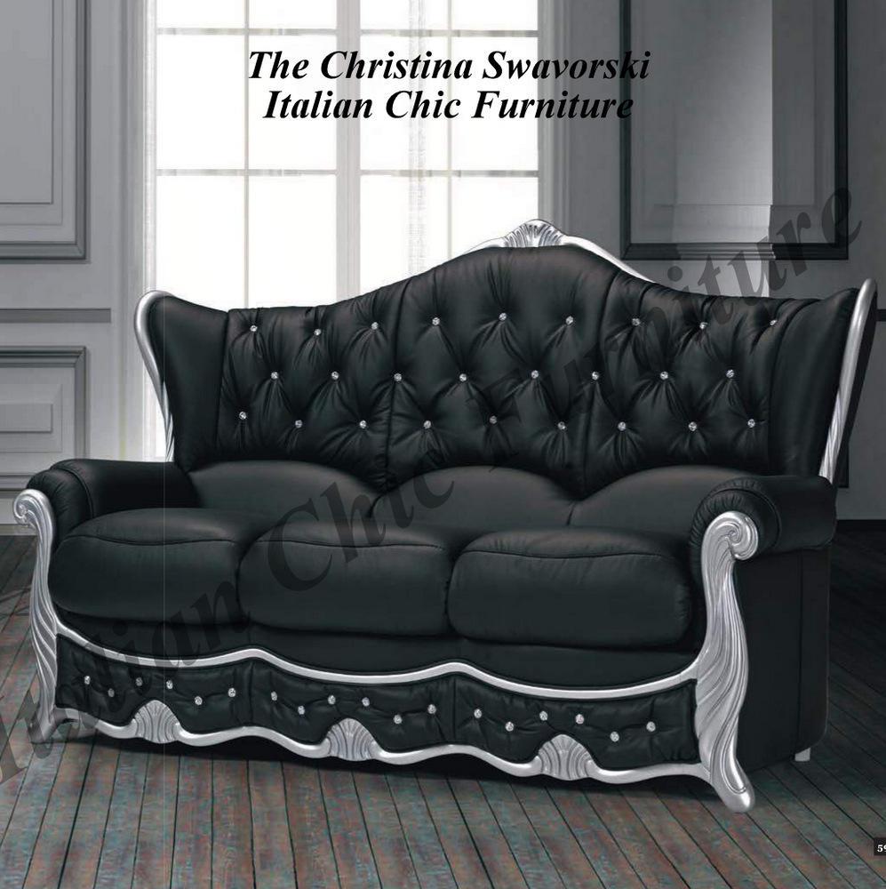 Cristina 3 Seater Italian Black Leather Sofa With Crystals