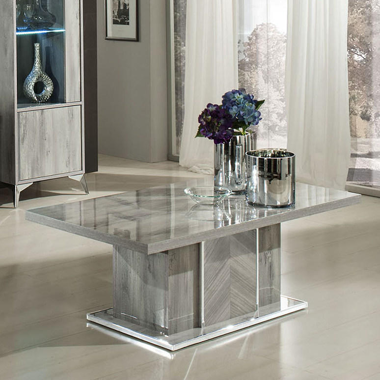 Alexa Coffee Table High Gloss Grain Grey