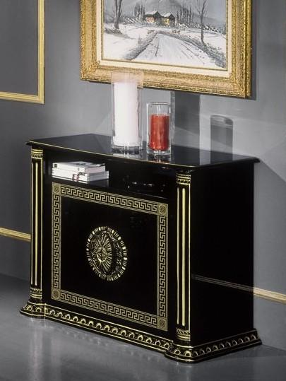 Coronation Rosa 2 Door Tv Unit Black Gold Versace Style