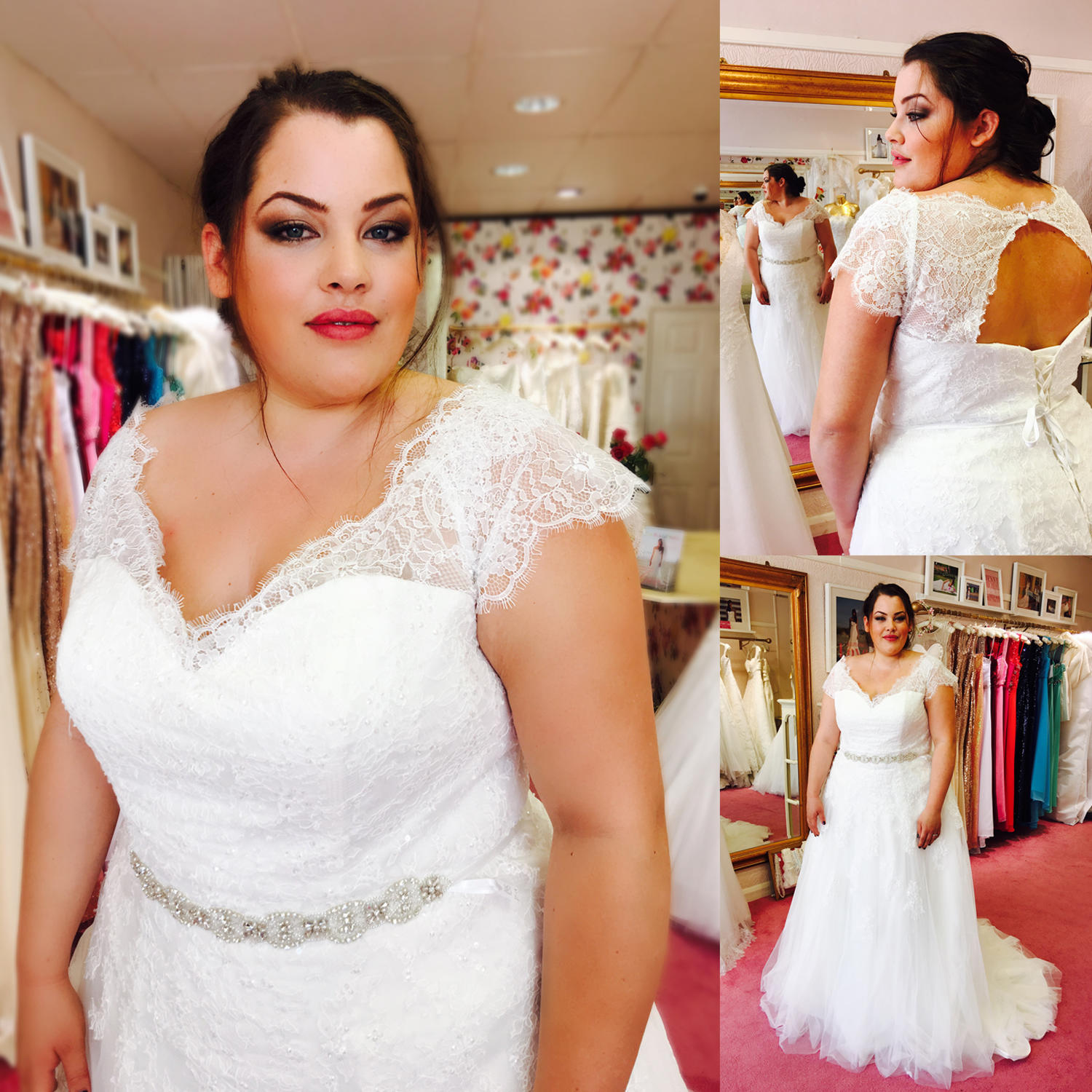 plus size wedding gown with lace sleeve