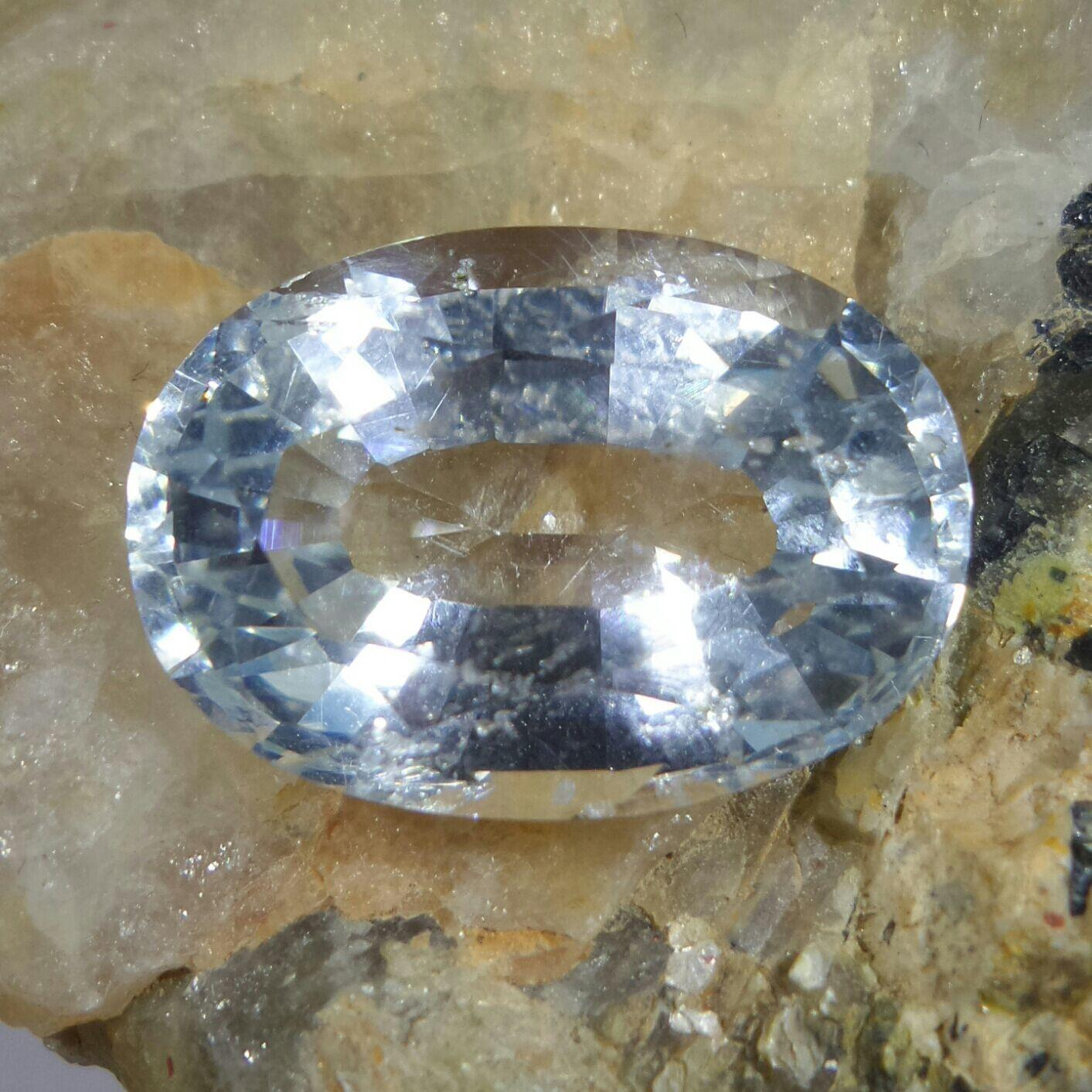 White Aquamarine, 16.07 cts, Oval Cut