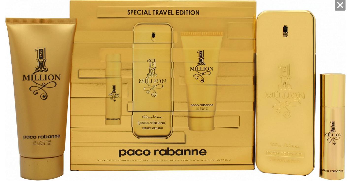 Paco rabanne 1 million edt 100ml + 10ml + shower gel 75ml set 100.