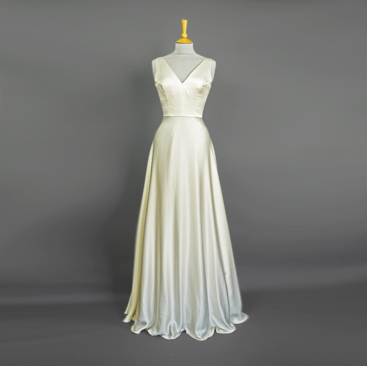 Coco 1920s Wedding Gown In Vintage Ivory Satin Crepe