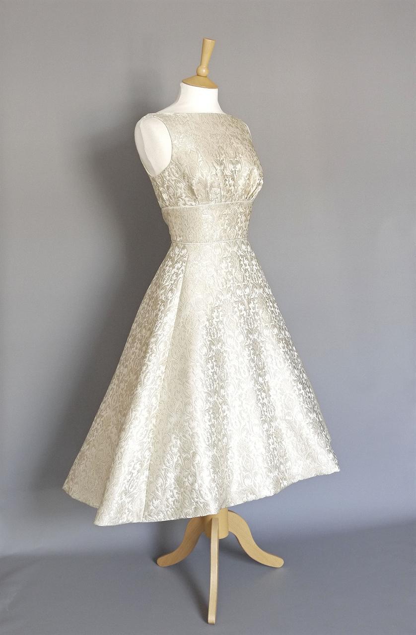 Maria Wedding Dress in Silver & Pearl Brocade with Dip Hem