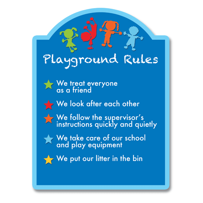 arched rules sign