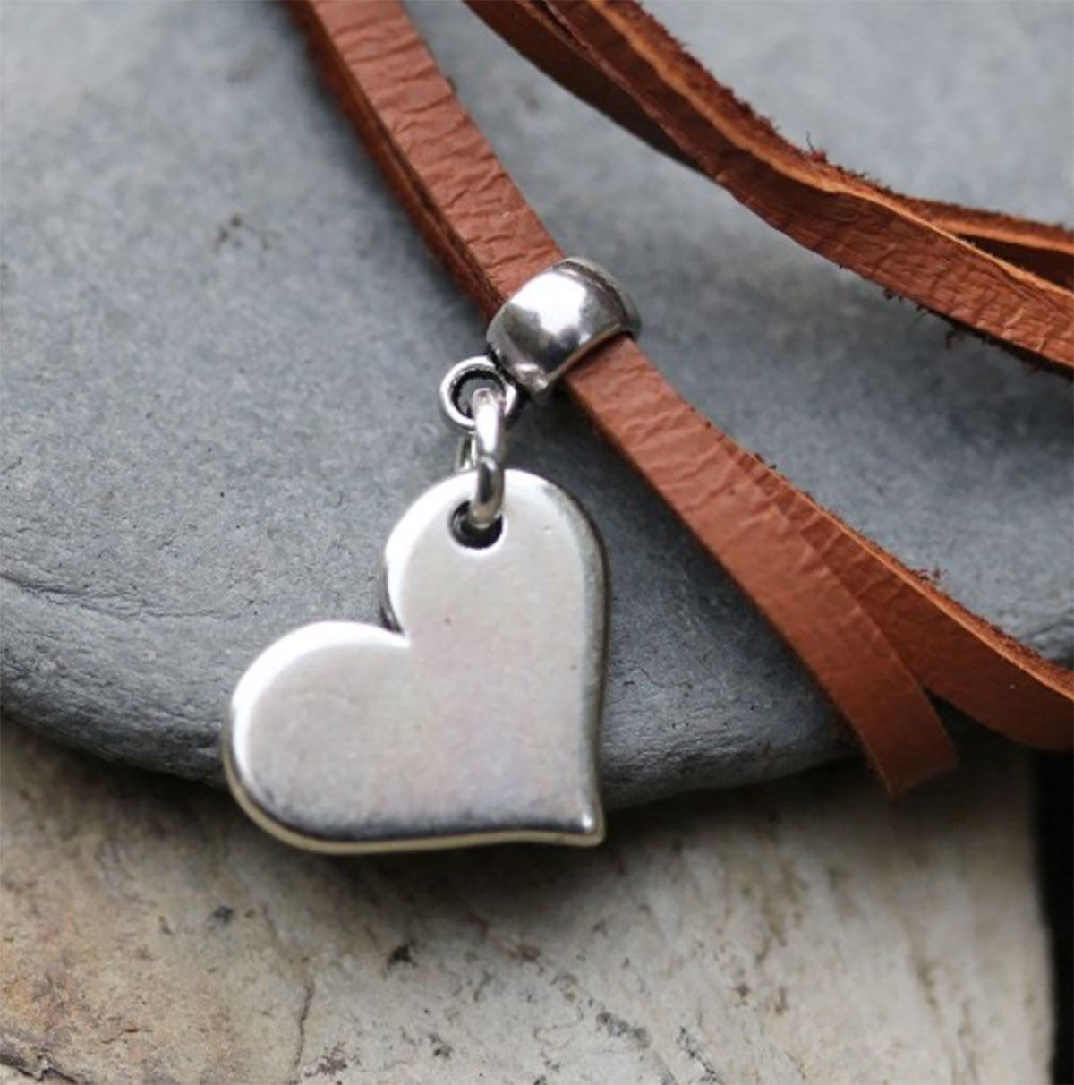 Silver Plain Sideways Heart Charm
