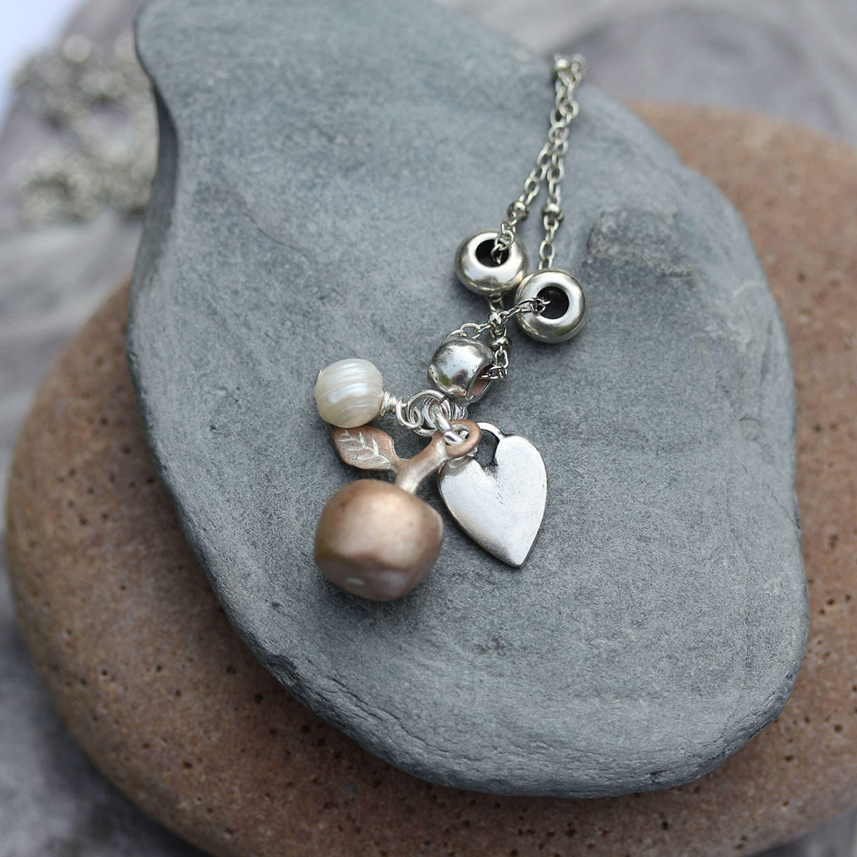Silvered Copper Charms and Freshwater Pearl Bead Necklace
