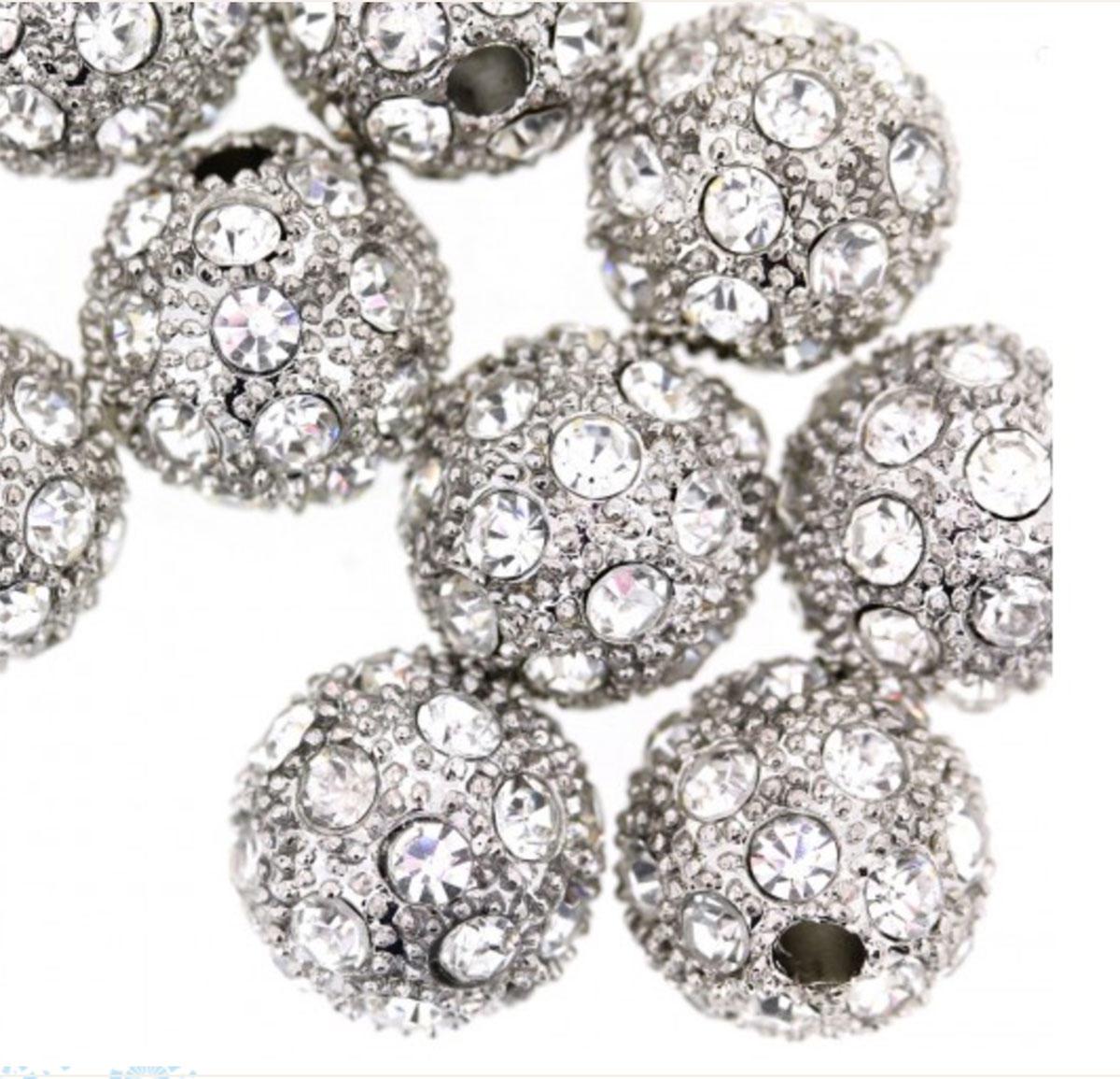 Silver Rhinestone Sparkle Bead