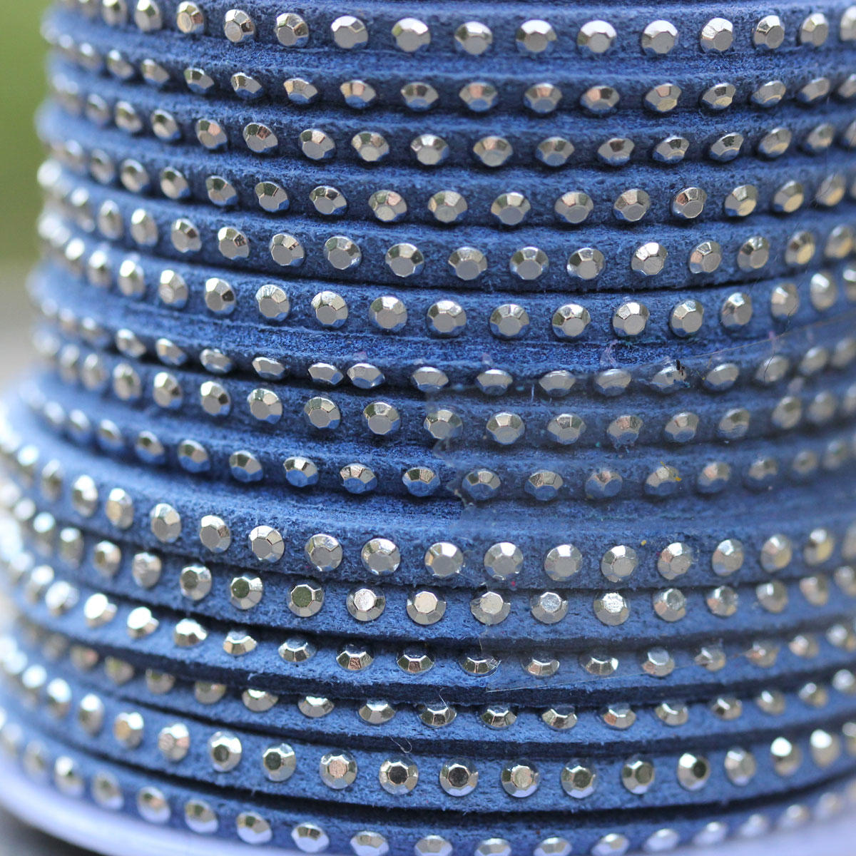 Denim Blue Faux Suede Thin Banding with Silver Beading