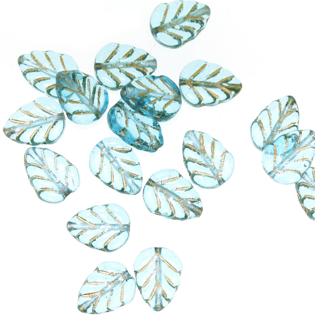Aquamarine Glass Leaves with Gold Inlay