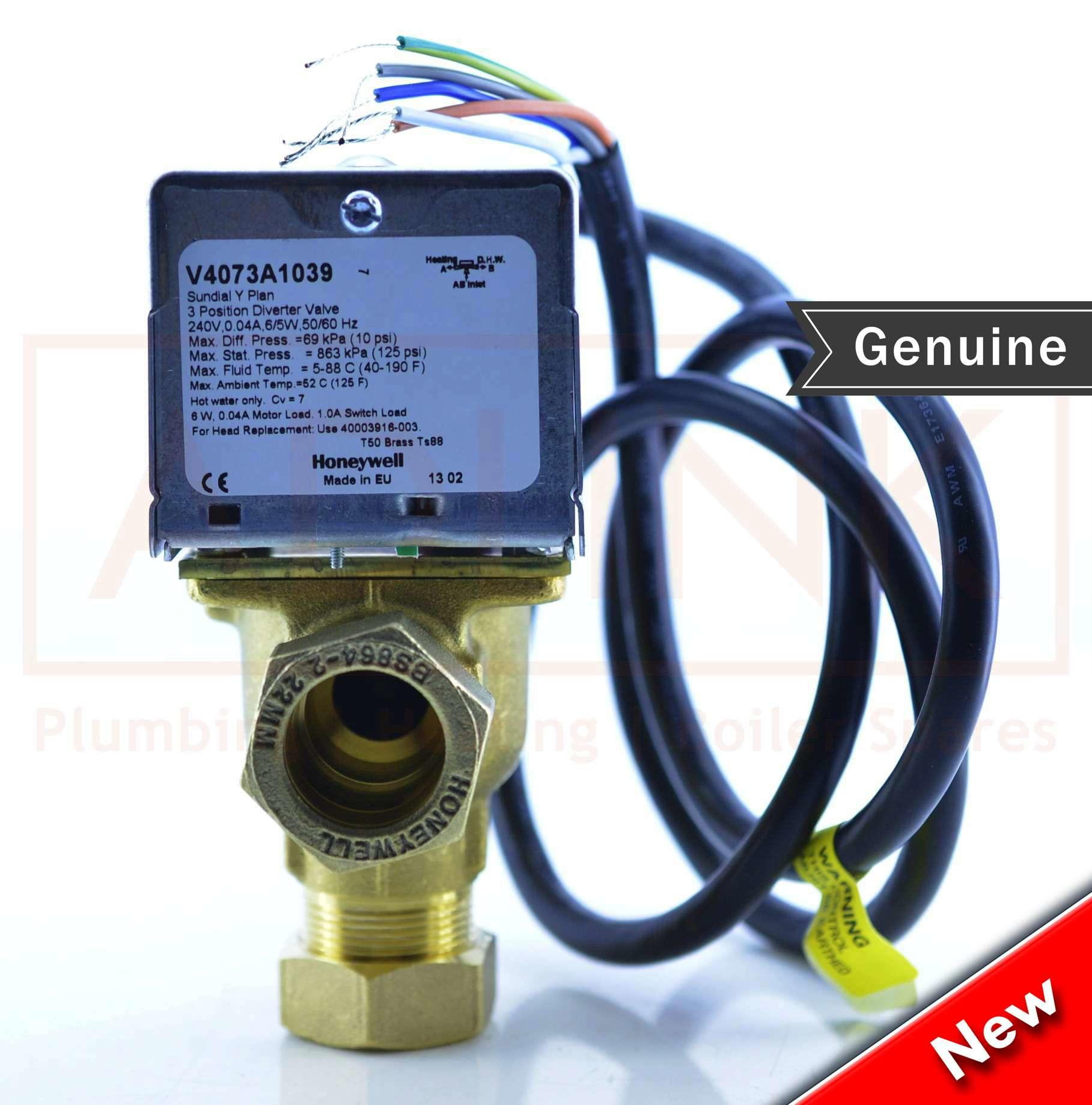 Honeywell 3 Port Valve 22mm 5 Wire  V4073a 1039