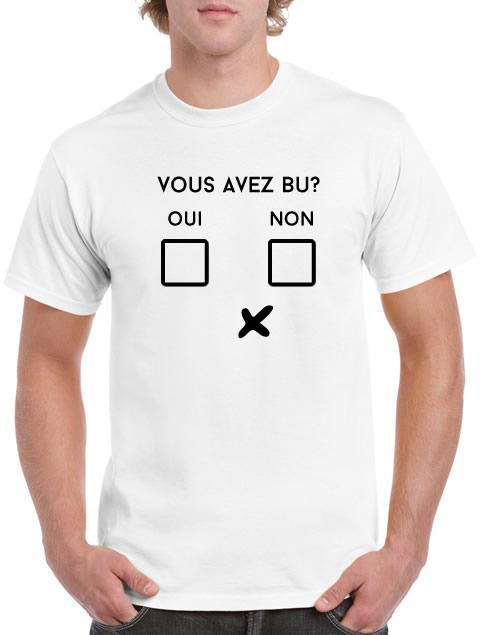 Tee shirt vous avez bu oui non for L ecole des femmes oui non white t shirt