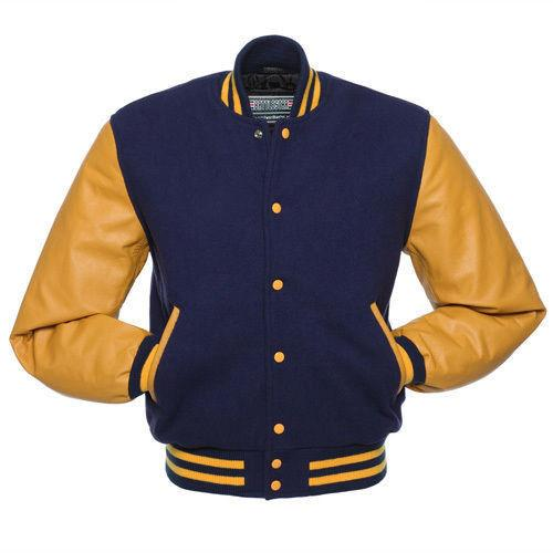 6e05aeae785 Royal Blue Wool Varsity Bomber Baseball Jacket - Gold Yellow Leather Sleeves