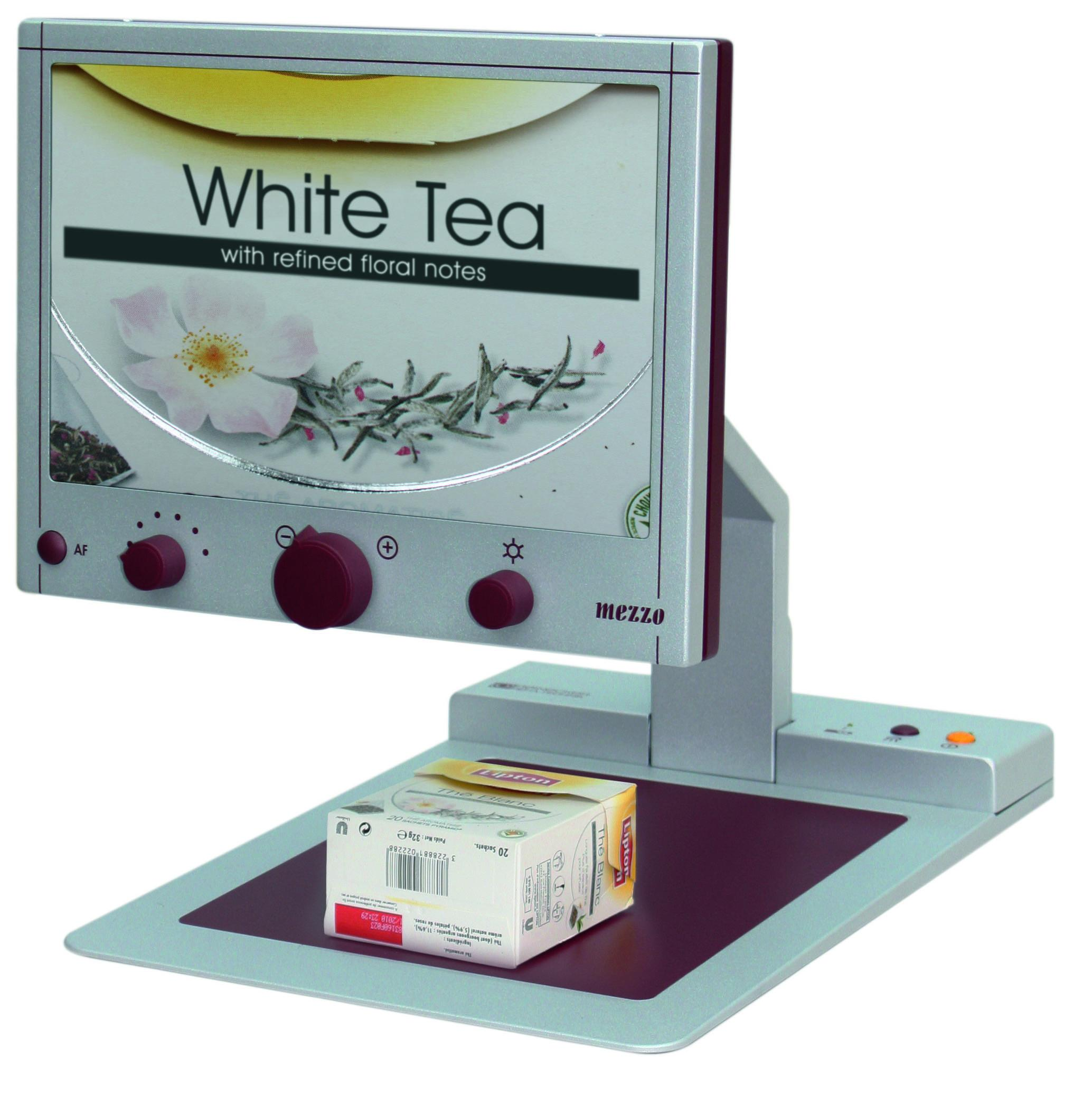 Reinecker Mezzo HD displaying a magnified box of tea bags