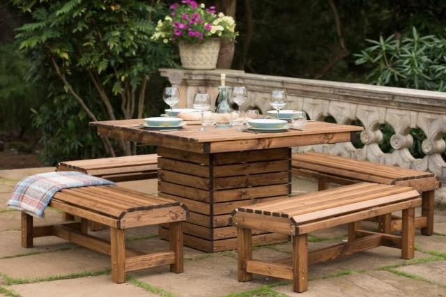 Wooden Garden Furniture Delivered, Wooden Table Chairs For Garden