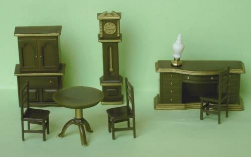 Set of 1/48th scale brown plastic furniture suitable for the dining room.