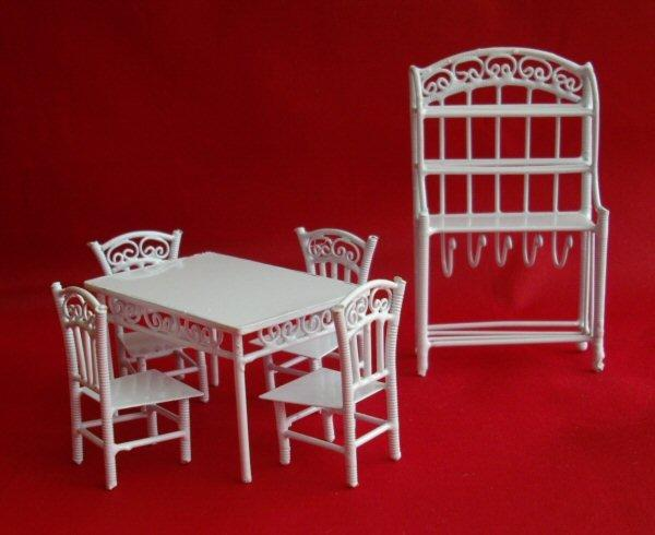 124th scale white wire dining room set