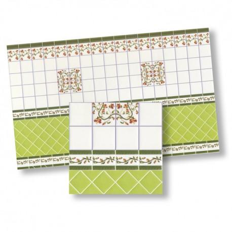 1/24th scale Green Mediterranean Wall Tiles