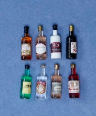 1/24th scale Set of 8 liquor or spirit bottles