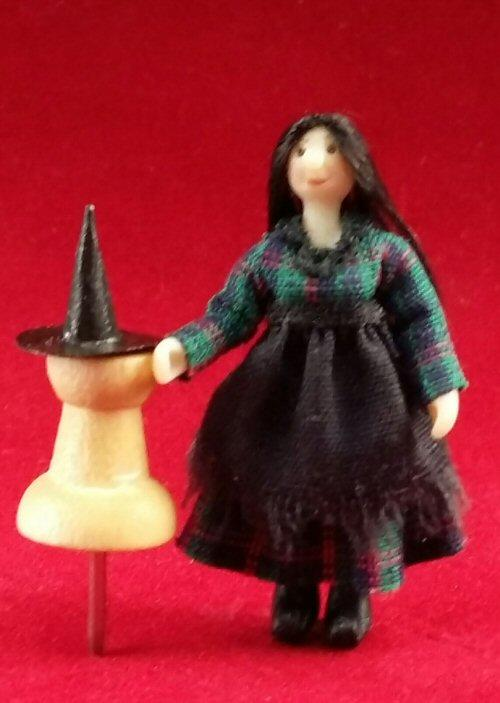 1/48th scale Miniature Witch doll and hat