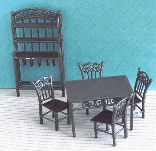 124th scale black wire dining room set