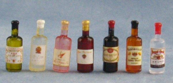 Bottles of 1/24th scale wine and spirits