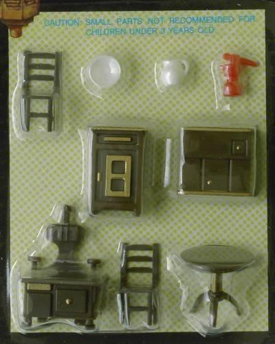 Set of Quarter scale brown plastic of furniture for the kitchen.