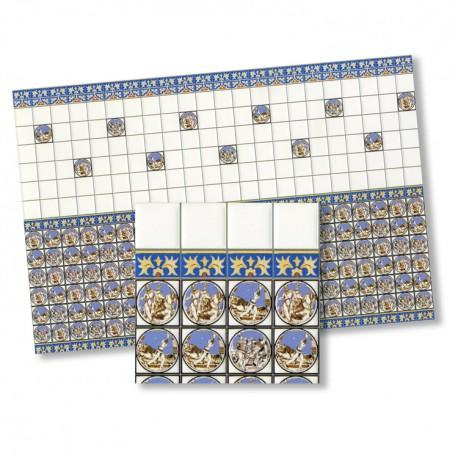 1/24th scale Victorian Blue Wall Tiles