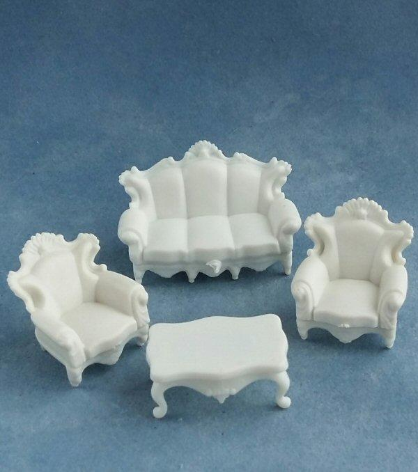 1/48th scale Victorian Style Sofa, Chairs and Table