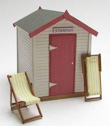 1/48th scale Wooden Beach Hut Kit with deck chairs