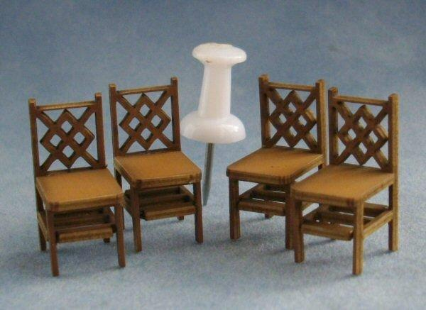 1/48th scale Criss Cross Square Back Chairs with pin for scale